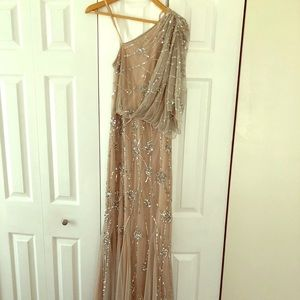 Adrianna Papell One Shoulder Beaded Gown Size 2